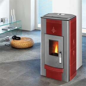 Eco-Pellet  - Pellet Stove Cast grey/bordeaux ceramics