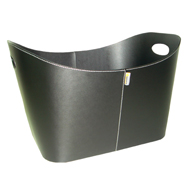 ** Baseline - Black Fire Basket - 55x45x30cm Faux Leather.