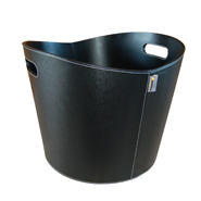 ** Proline - Black Fire Basket - Ø 39x31cm. Faux Leather.